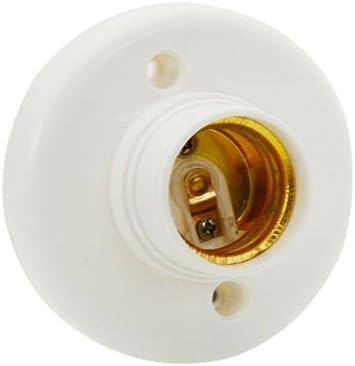 E27 Screw Base Round Plastic Light Bulb Lamp Socket Holder Adapter White 220V
