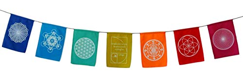 - Sacred Geometry Rainbow Prayer Flags Positive Energy Shri Yantra, Flower of Life, Seed of Life, (6X8 Multi)