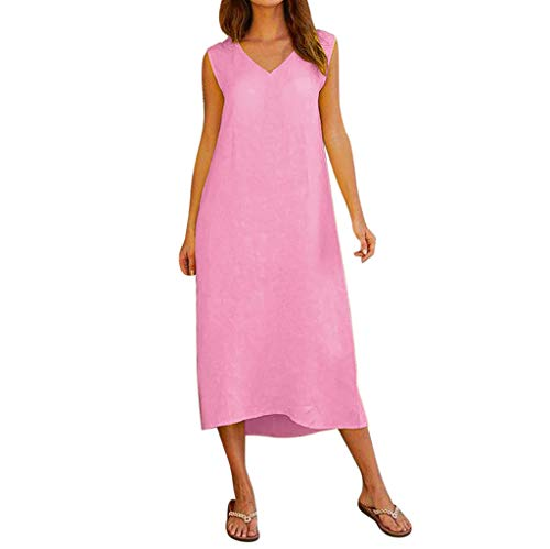 aihihe Summer Dresses for Women Sleeveless V Neck Casual Plain Simple T-Shirt Loose Dress(Pink,M) -