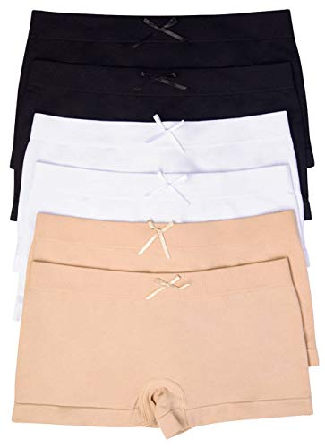 ToBeInStyle Girls' Pack of 6 Solid Color Ribbon Seamless Boyshorts (S/M (Ages 4-11), Basic)
