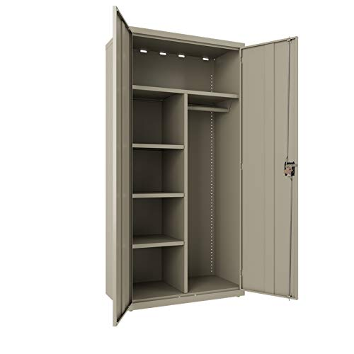 (Hirsh Wardrobe Storage Cabinet with Garment Rod Adjustable Shelves in Putty, Fully Assembled Welded Construction)
