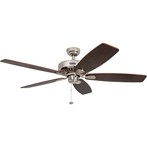 Honeywell Sutton 52-Inch Ceiling Fan, Energy Star Certified, Five Reversible Burnt Maple/Light Oak Blades, Brushed ()