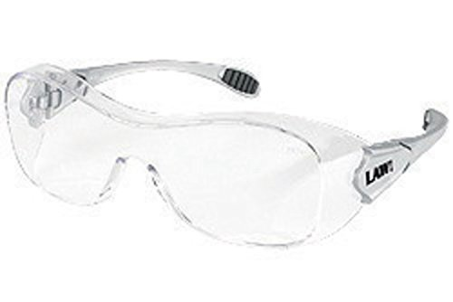 Crews Law Over The Glasses (OTG) Dielectric Safety Glasses With Gray Frame, Clear Polycarbonate Duramass AF4 Anti-Scratch Anti-Fog Lens And Steel Colored Temples