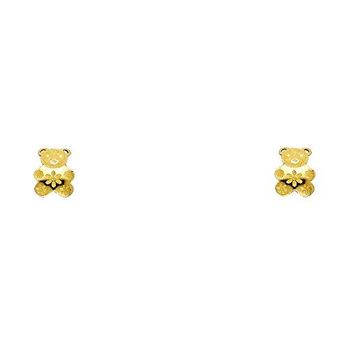 FB Jewels 14K Yellow Gold Post Screw Back Teddy Bear Womens Stud Earrings