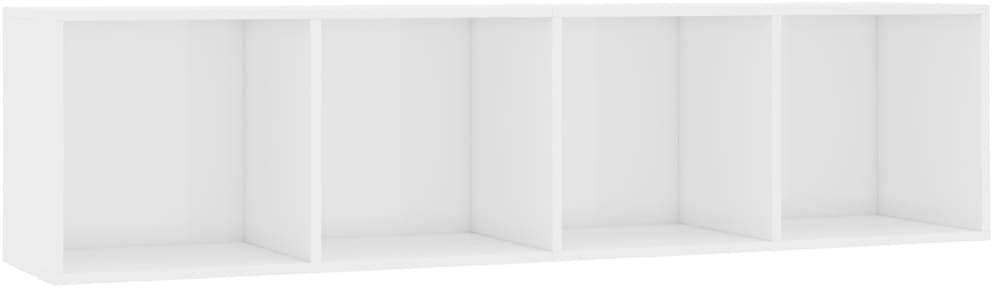 Festnight Estantería Mueble para TV Estantería para Libros Estantería de Almacenamiento con 4 Compartimentos Mesa para TV Blanco Brillante 143x30x36 cm: Amazon.es: Hogar