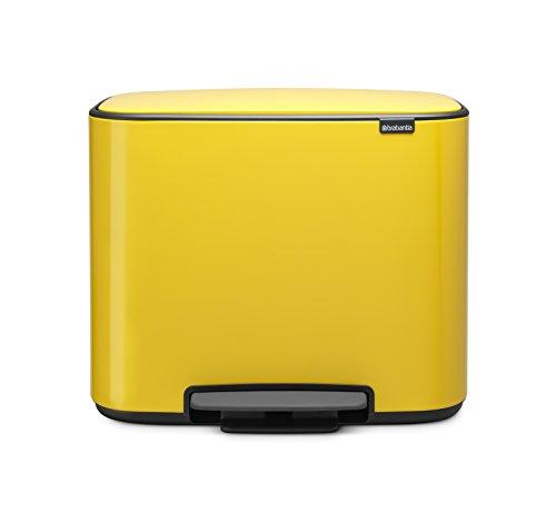 Brabantia Bo Pedal Bin, 36 Litre, Steel, Daisy Yellow, 36 L ()