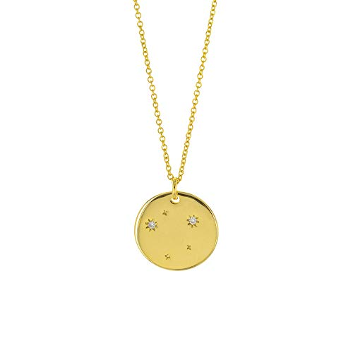 Columbus 14K Gold Plated Astrology Horoscope Constellation Zodiac Coin Necklace (Libra)