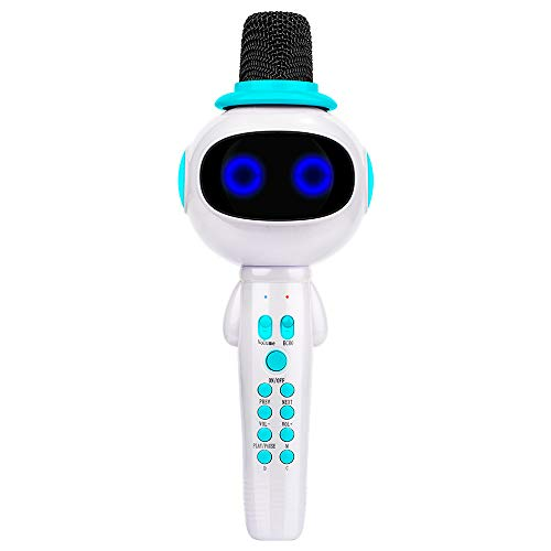BONAOK Kids Wireless Bluetooth Karaoke Microphone with Magic Sound & Colorful LED light, 5 in 1 Portable Handheld Party Karaoke Speaker Machine New Year Gift for Android/iPhone/iPad/PC (Blue) by BONAOK (Image #7)