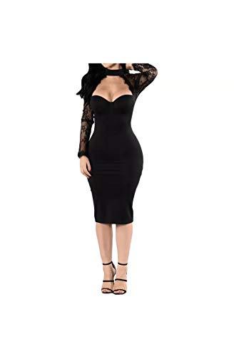 Carolina Dress Vestidos De Fiesta Cortos De Mujer Sexys Color Vino Ropa De Moda para Fiesta Noche Elegantes Casuales (M, Black)