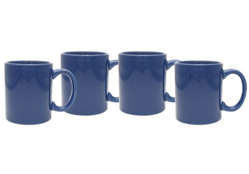 Culver 11-Ounce Hampton Ceramic Mug, Royal Blue, Set of 4 Royal Blue Ceramic