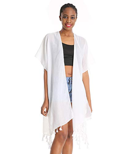 (Women Floral Kimono Swimsuit Cover Up Cardigan - White Long Chiffon Print Swimwear Beach Bathing Bikini Coverup Boho Batwing Loose Tops Outwear Kimono Dress Plus Size Loose Sleeve Shawl)