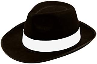 Unisex Al Capone White Gangster Hat Black Mob Fancy Dress Micheal Jackson Trilby