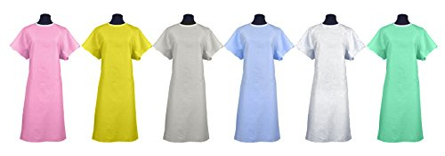 Classic Patient Medical Hospital Gown / Johnny Hospital Gowns 2pack - Many Colors to Choose From! Made in the USA (Light Blue) (Patient Gown Tie)