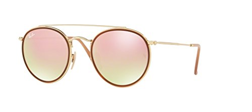 Ray-Ban RB3647N 001/7O 51M Gold/Pink Brown Mirror Gradient Sunglasses For Men For Women (Ray-ban Leopard)
