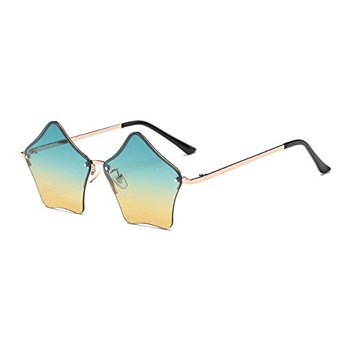 MINCL/Super Cute Star Shape Rimless Sunglasses Metal Frame Transparent Candy Color Eyewear - Shaped Star Sunglasses