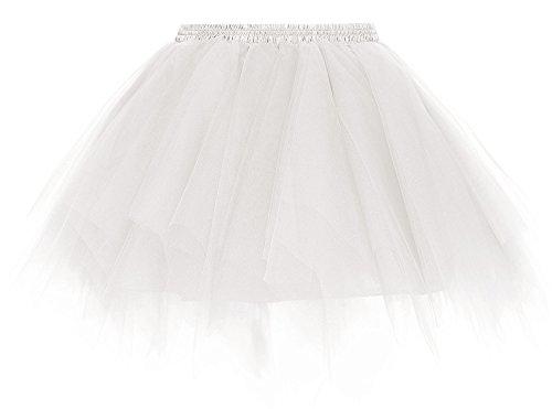 Womens White Ballerina Costume (Simplicity Women's 50s Vintage Ballet Bubble Tutu Skirt Underskirt, White)