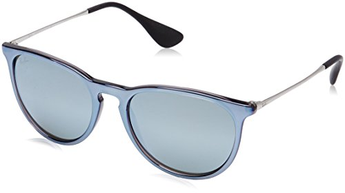 Ray-Ban Erika Non-Polarized Iridium Aviator Sunglasses, Grey Mirror Flash Grey, 54 - Ban Ray Silver Sunglasses
