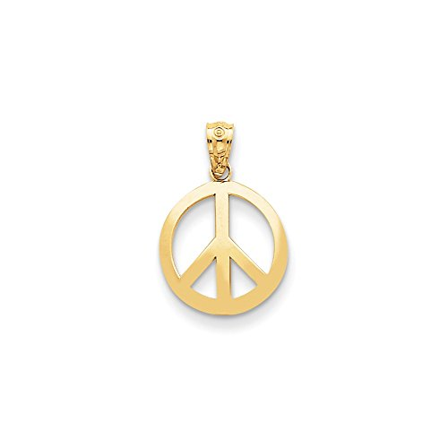 Circle Slider Pendant (14k Gold Polished Peace Sign Circle Pendant (1.18 in x 0.47 in))