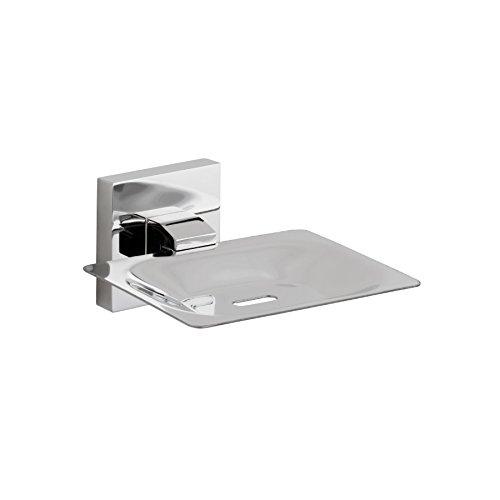 Maykke Tribeca Wall Mount Rectangular Soap Dish Tray Modern Soap Bar Sponge Holder Drainage Hole to Save Bathroom Counterspace, Lavatory, Kitchen & Shower Use Polished Chrome, KYA1000202