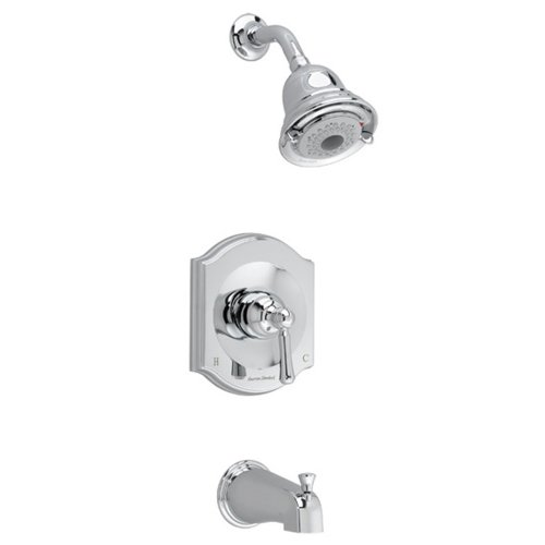 (American Standard T415502.002 Portsmouth Bath and Shower Trim Kit with Square Escutcheon, Polished Chrome)