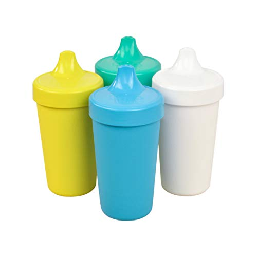Re-Play Made in The USA 4pk No Spill Sippy Cups for Baby, Toddler, and Child Feeding – Sky Blue, Yellow, Aqua, White (Surf+)