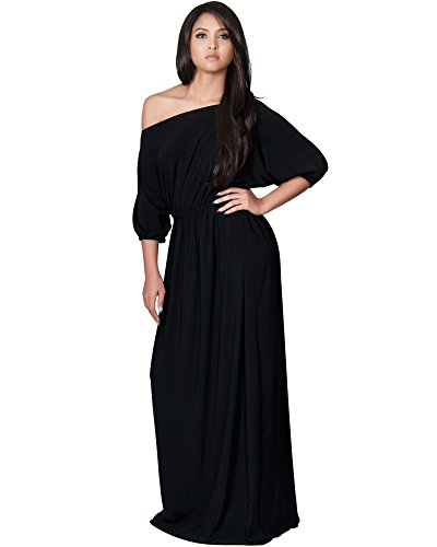 KOH KOH Womens Long Sexy One Shoulder Flowy Casual 3/4 Short Sleeve Work Designer Casual Pleated Evening Day Office Sun Classsic Maxi Dress, Color Black, Size Extra Large XL 14-16 (2)