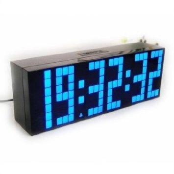 ECVISION Lattice LED Remote Digital Alarm /Countdown/Up Clock Blue