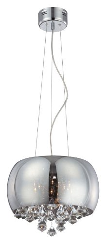 Lite Source EL-10064 Pendant with Crystal and Smoked Mirror Shades, Steel Finish