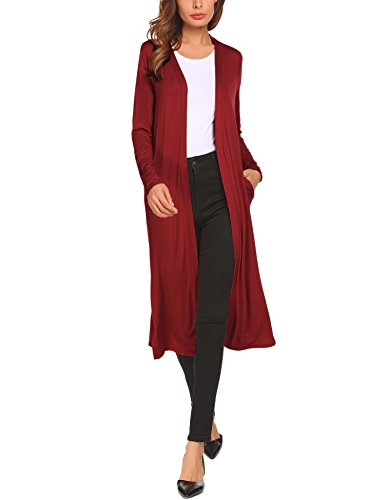 Beyove Women's Casual Open Front Long Sleeve Cardigan Sweater with Pocket Wine Red XXL