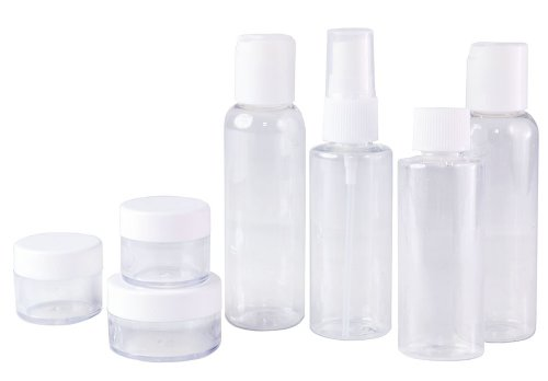 Set of 7 - Clear Plastic Travel Size Empty Bottles, TSA / Ai