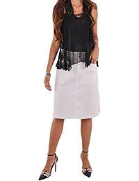 Ripped Pockets White Denim Skirt