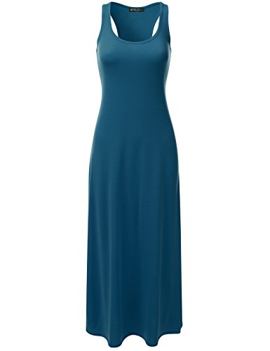 DRESSIS Women's Racerback Scoop Neck Sleeveless Relaxed Loose Fit Maxi Tank Dress TEAL L