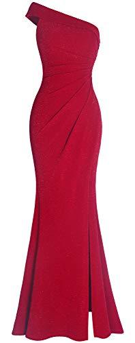Ruched One Shoulder Gown - Fazadess Women's Ruched One Shoulder Side Split Slim Formal Evening Party Dress Carmine