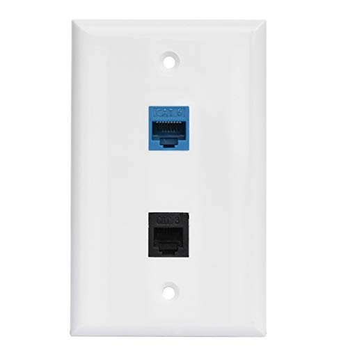 RJ11 RJ45 Wall Plate - Phone CAT6 Ethernet Wall Plate Female to Female - 1 RJ11/RJ12 Jack + 1 Cat6 Ethernet Port - White