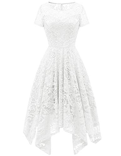 Bridesmay Women's Elegant Short Flare Sleeves Floral Lace Asymmetrical Hanky Hem Cocktail Party Bridesmaid Dress White 2XL