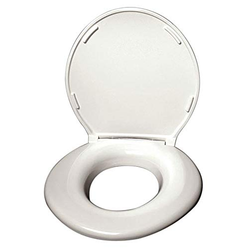 Big John 1-W Oversized Toilet Seat with Cover and Stainless Steel Hinges – For Round Or Elongated Toilet Bowls – Weight Capacity 1,200 Pounds – White