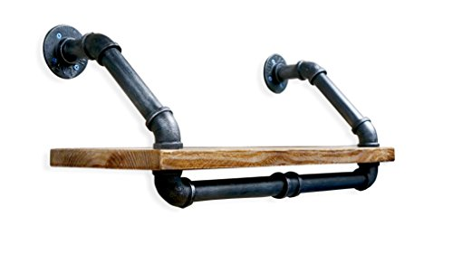 NACH Qa-1030 Diy Industrial Style Silver Brushed Black Pipe and Single Rustic Modern Wood Shelf with Towel Rack, 24'' x 9.8'' by NACH (Image #2)
