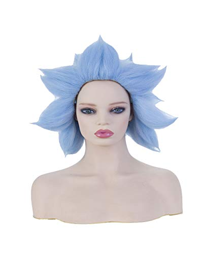 Womens Short Blue Wig Halloween Cosplay Costume Party Spiky Crazy Synthetic Hair Full -