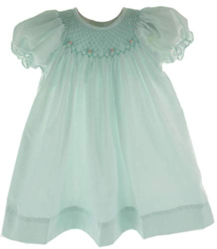 3M Girls Mint Green Smocked Dress Bonnet Set Bishop Day ()