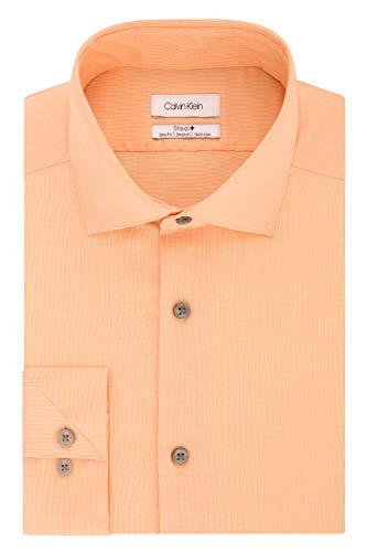 Calvin Klein Men's Dress Shirt Slim Fit Non Iron Stretch Solid, Coral, 17.5