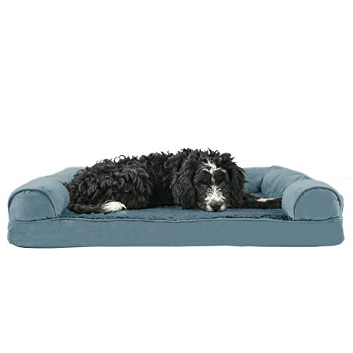 FurHaven Pet Dog Bed | Memory Foam Plush & Suede Sofa-Style Couch Pet Bed for Dogs & Cats, Deep Pool, Large