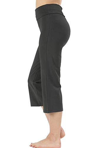 Re.Born RBWP002 Womens Comfort Slim Flare Yoga Athletic Pants with Fold Over Waistband AshGrey 2XL ()
