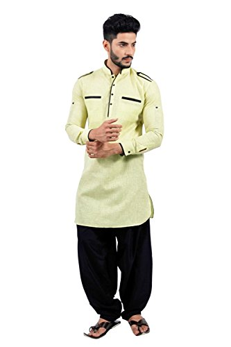 Saris and Things Limegreen Pathani Suit for Men