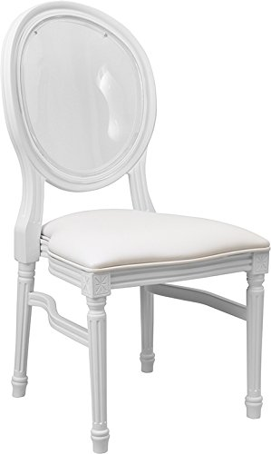 King Louis White Resin Dining Restaurant Chair with Transparent Back & White Vinyl (Resin Fluted)