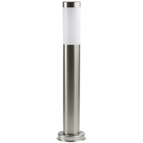 GardenKraft 18860 60cm Solar Garden Post | Stainless Steel | Bright White LED Light | Solar Garden Light