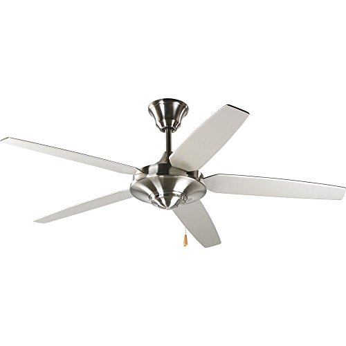 Progress Lighting P2530-09 54-Inch 5 Star Fan with Reversible Silver/Natural Cherry Blades, Brushed Nickel