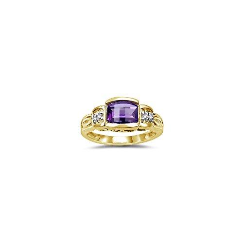 0.03 Cts Diamond & 7x5 mm Barrel-Cut Amethyst Ring in 14K Yellow Gold-9.0 (Amethyst Barrel)