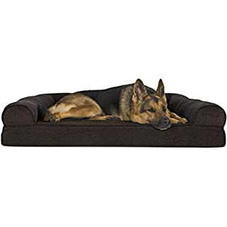 Furhaven Pet Dog Bed - Orthopedic Faux Fleece and Chenille Soft Woven Traditional Sofa-Style Living Room Couch Pet Bed with Removable Cover for Dogs and Cats, Coffee, Jumbo