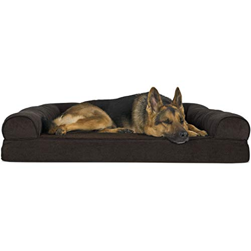 Furhaven Pet Dog Bed | Orthopedic Faux Fleece & Chenille Soft Woven Traditional Sofa-Style Living Room Couch Pet Bed w/ Removable Cover for Dogs & Cats, Coffee, Jumbo