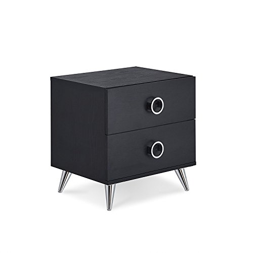 Major-Q 2 Drawer Dresser for Living Room/Bedroom / Entryway/Hallway, Black Finish with Chrome 20 x 17 x 20